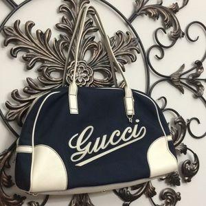 Gucci blue nylon & leather boulevard handbag